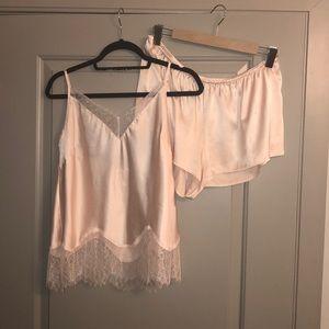 Victoria's Secret Beige Lace V-Neck Pajama Set